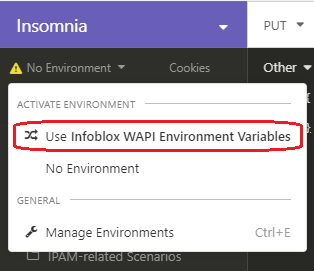 Use Infoblox WAPI Environment Variables