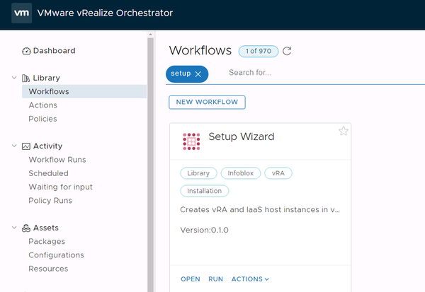 workflows panel search for setup wizard workflow