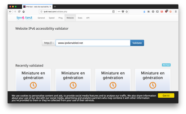 Externally validating a website is IPv6-enabled