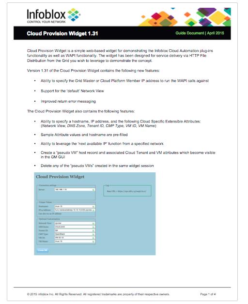 Cloud Provision Widget