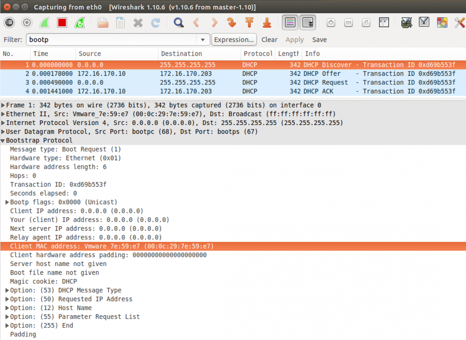 Figure 1: DHCP Discover packet with included Client MAC address highlighted