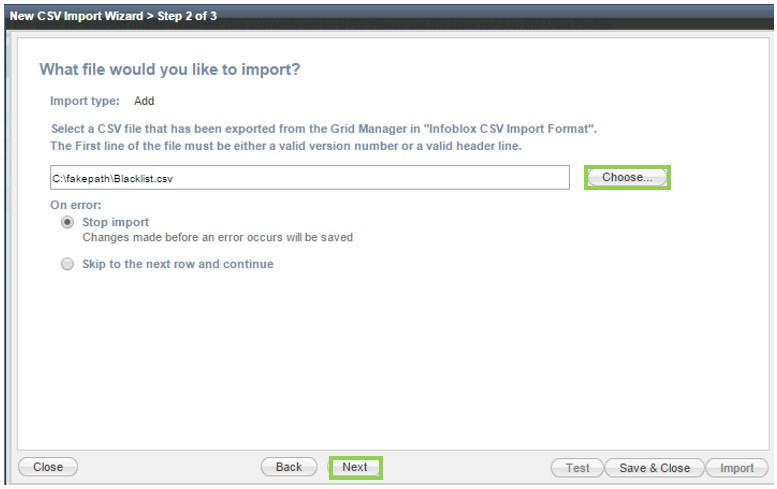 Infoblox Grid Manager - CSV Import Wizard Selection