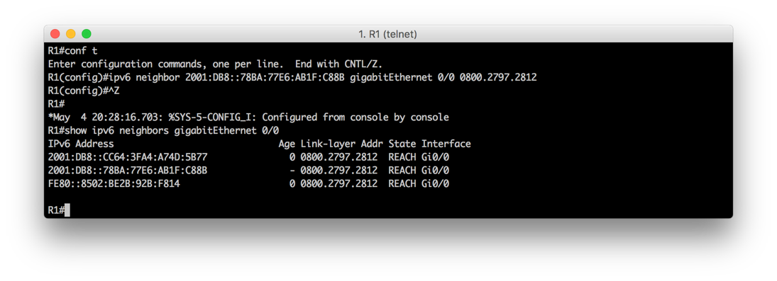 IPv6 statically mapping an IPv6 neighbor entry