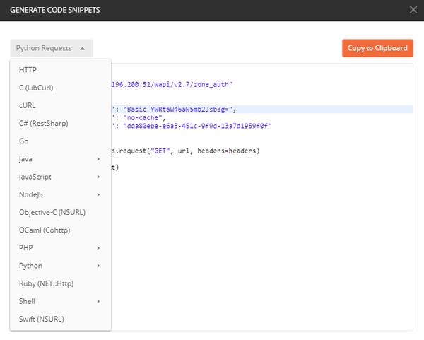 WAPI POSTMAN - Generate Code Snippets