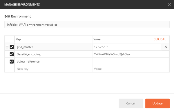 WAPI POSTMAN - Select Environment Variables - Details