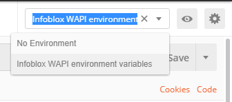 WAPI POSTMAN - Select Environment Variables